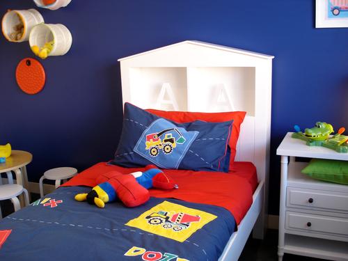 Vibrant blue boys bedroom