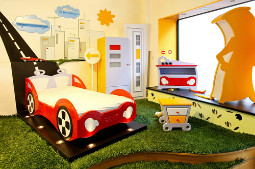 Interior of colorful boy room with race theme