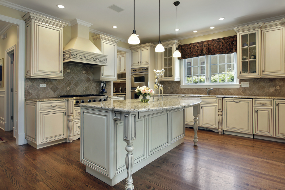Kitchen with large granite island